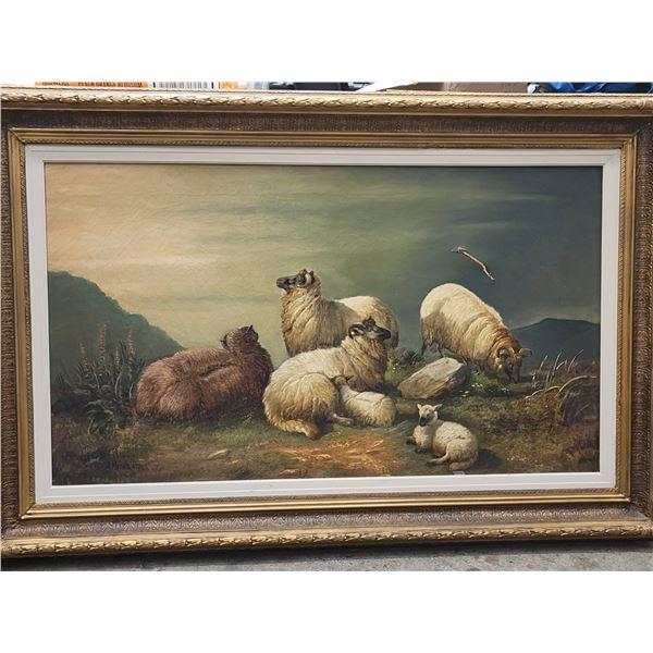 painting sheep damage signed 1871