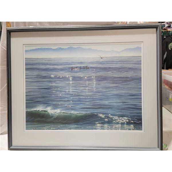 gulls on a log lithograph