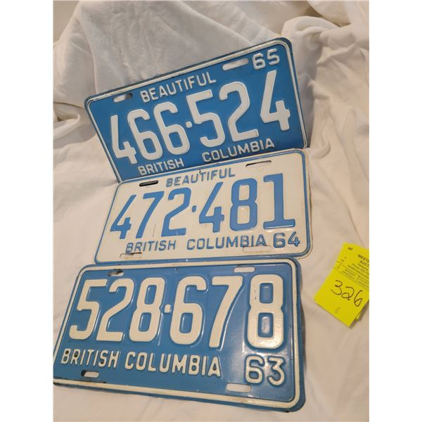 bc license plate lot 63 64 65