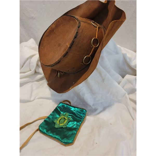 leather hat turtle pouch