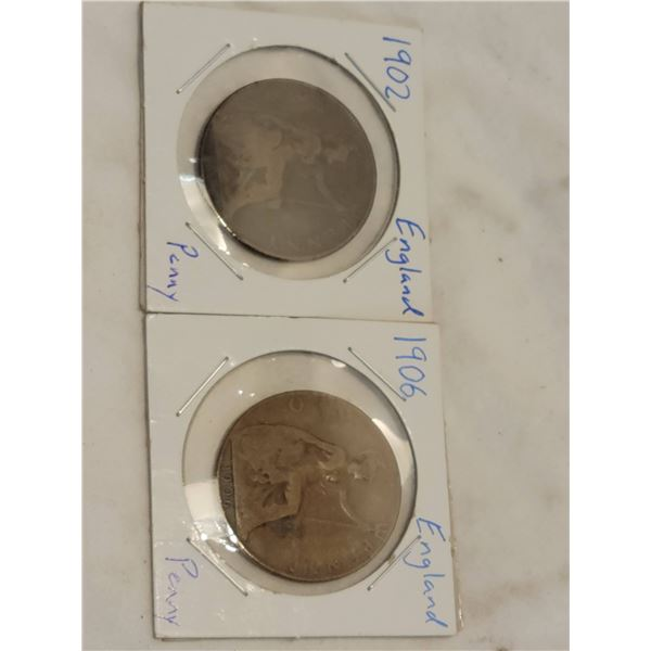 two large pennies 1902 1906