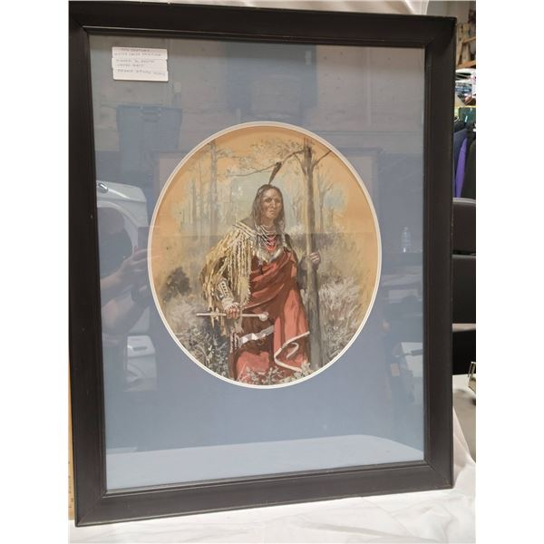 19th Century watercolor G Newton  24 x 37 First Nation