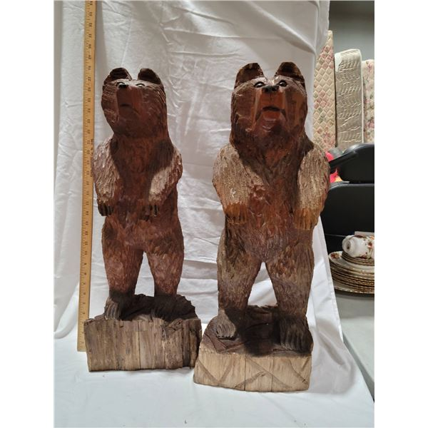 """2 chainsaw carved bears 26"""""""