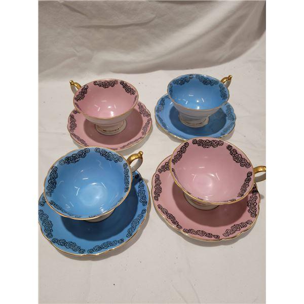 4 baylueth teacups saucers