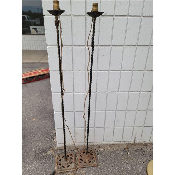 pair iron floor lamps