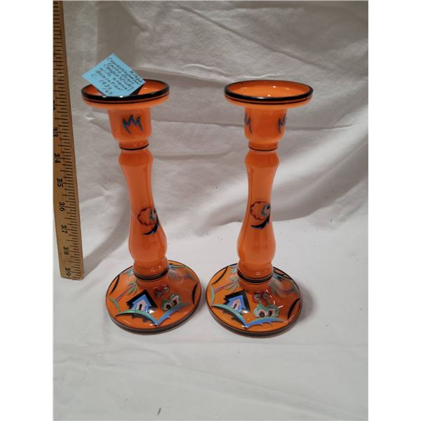cased glass  candlesticks