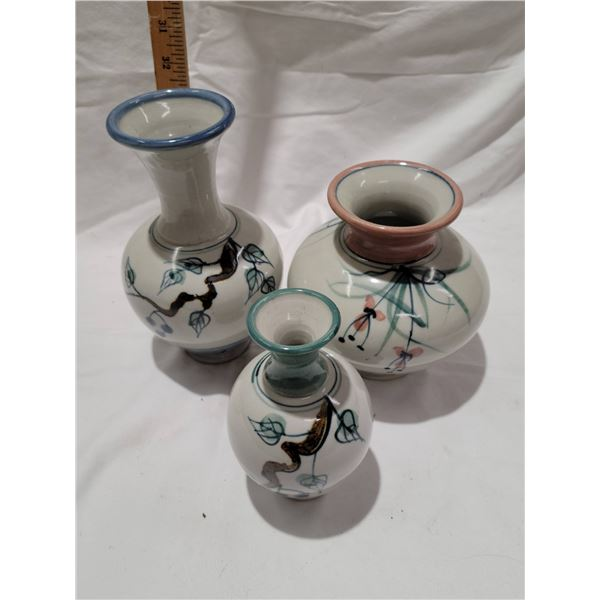 lot signed pottery vases