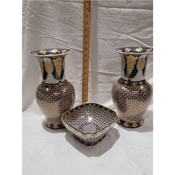 Kutani vase bowl set