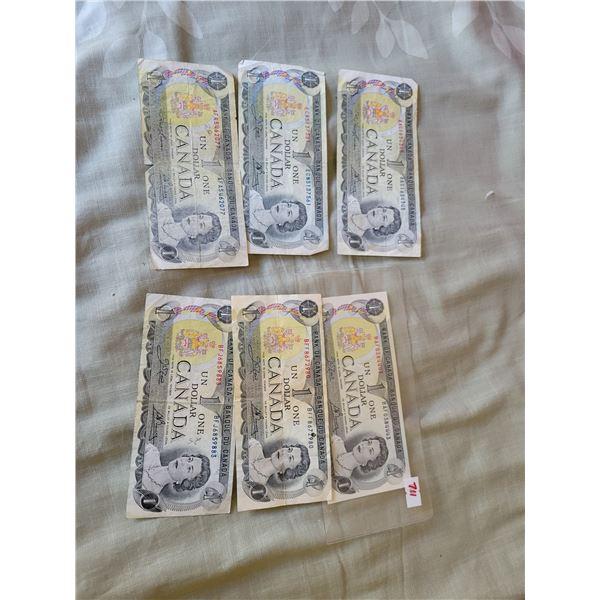 6 $1 bills