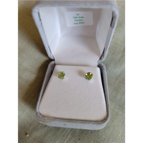 10k gold peridot earrings $563