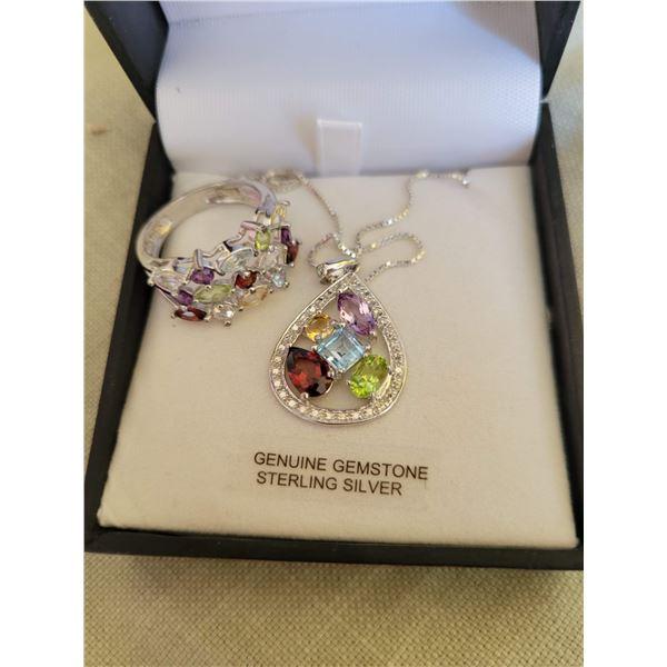 multi gemmed ring necklace sterling