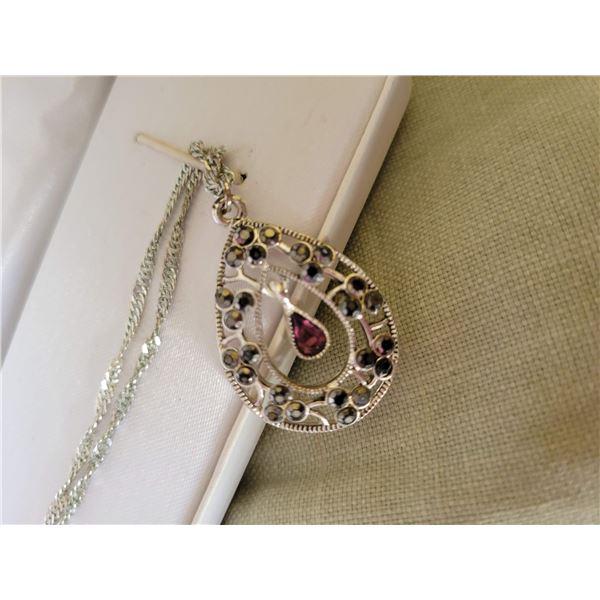 garnet necklace sterling