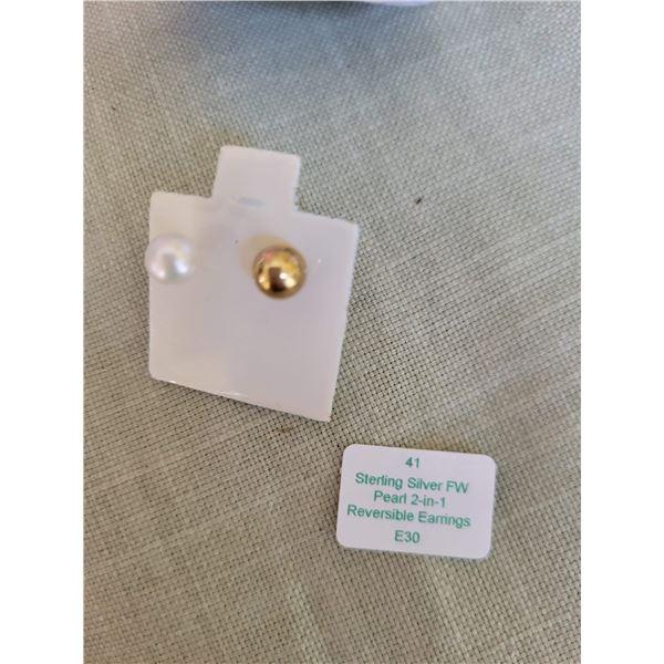 sterling pearl reversible earrings
