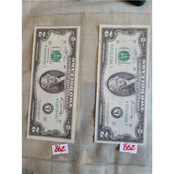 2 x usa $2 bills