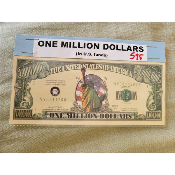 one million dollar bill (maybe faux)
