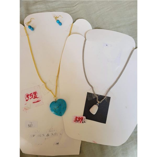 turquoise heart and earrings plus