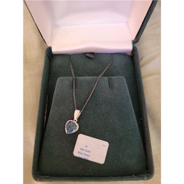 14 kt gold blue topaz pendant
