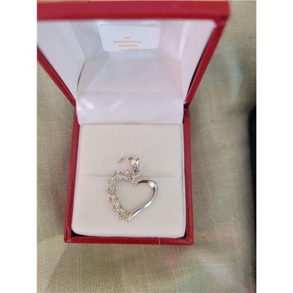 sterling diamond heart