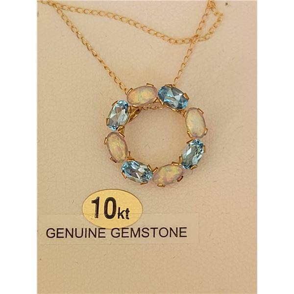 10KT aqua necklace