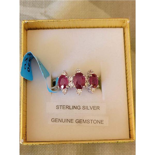 Sterling ruby ring