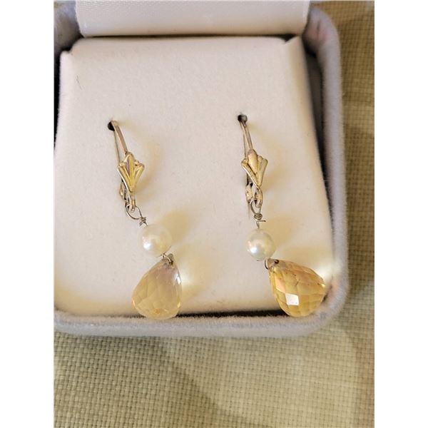 pearl quartz earrings