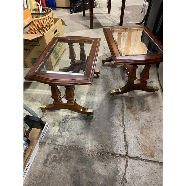 Pair of glass top table