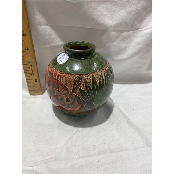 "Vintage Costa Rica carved 5"" pottery vase"