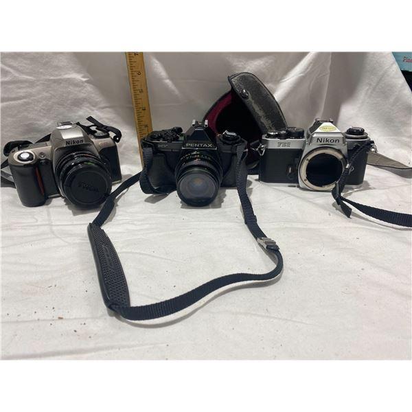 3 vintage cameras nikon , Pentax, lens