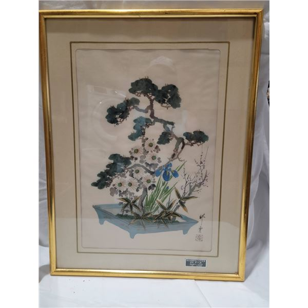 Oriental embroidery framed