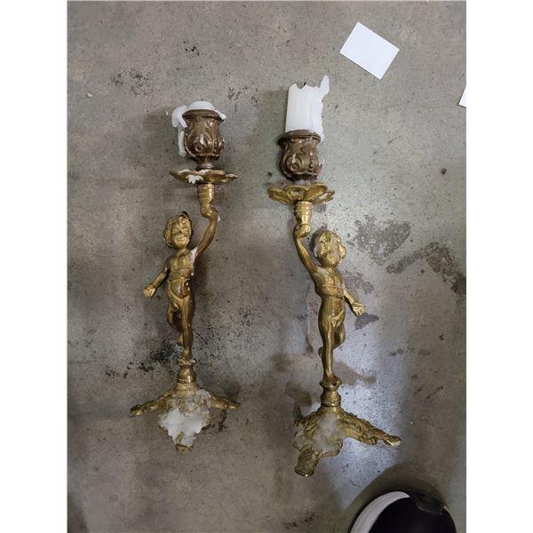 Bronze Cupid candlesticks