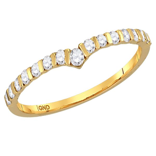Diamond Chevron Stackable Band Ring 1/4 Cttw 14kt Yellow Gold