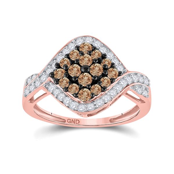 Brown Diamond Cluster Ring 1 Cttw 10kt Rose Gold
