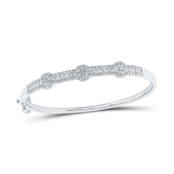 Diamond Flower Cluster Bangle Bracelet 1-3/4 Cttw 14kt White Gold