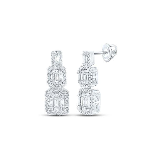 Baguette Diamond Dangle Earrings 1-1/3 Cttw 14kt White Gold