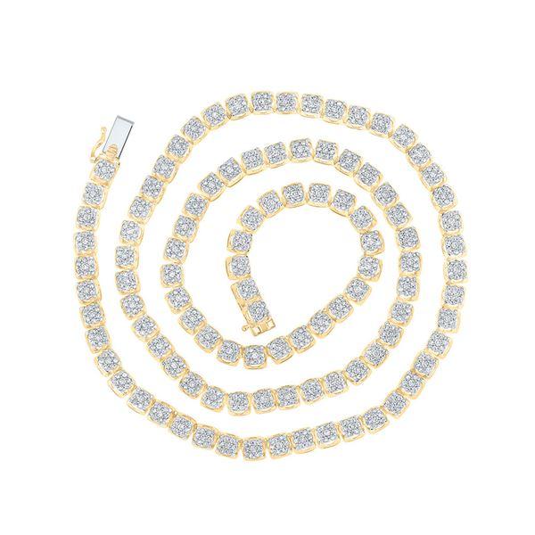 Mens Diamond Tennis Studded Necklace 8-1/2 Cttw 10kt Yellow Gold