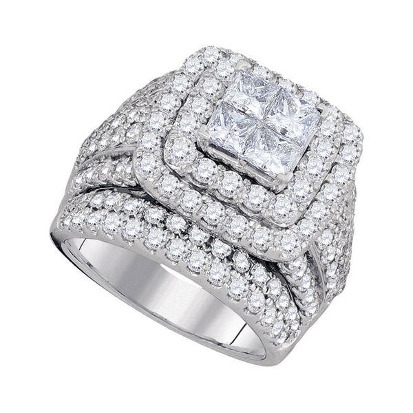 Princess Diamond Cluster Bridal Wedding Engagement Ring 4 Cttw 14kt White Gold