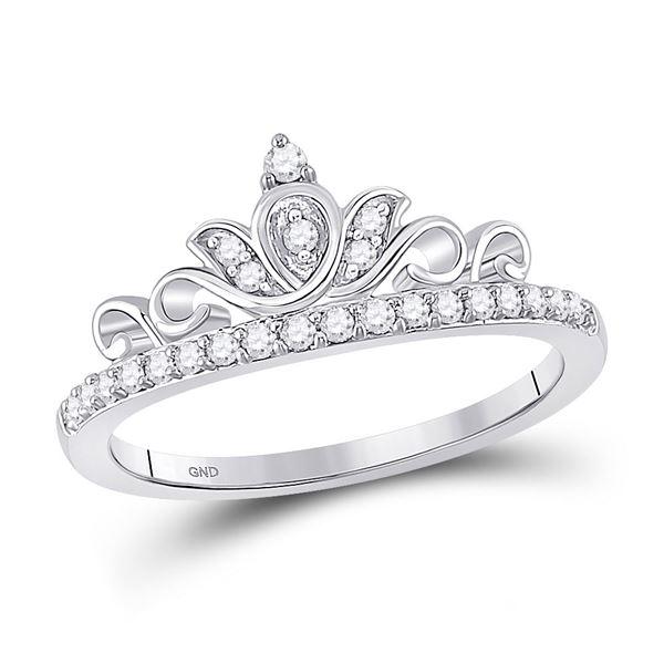 Diamond Crown Tiara Band Ring 1/5 Cttw 10kt White Gold