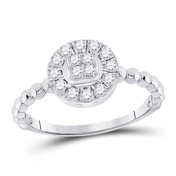 Diamond Circle Cluster Ring 1/3 Cttw 10kt White Gold