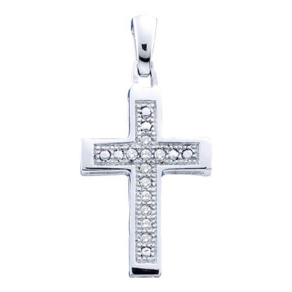 Diamond Simple Roman Cross Pendant 1/20 Cttw Sterling Silver