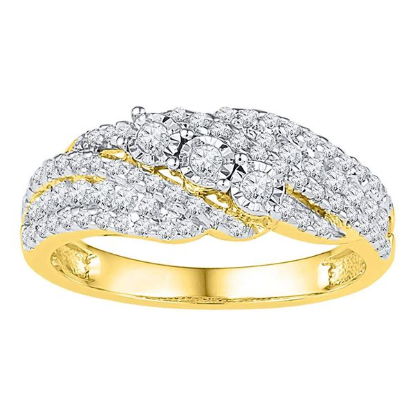 Diamond 3-stone Ring 1/2 Cttw 10kt Yellow Gold