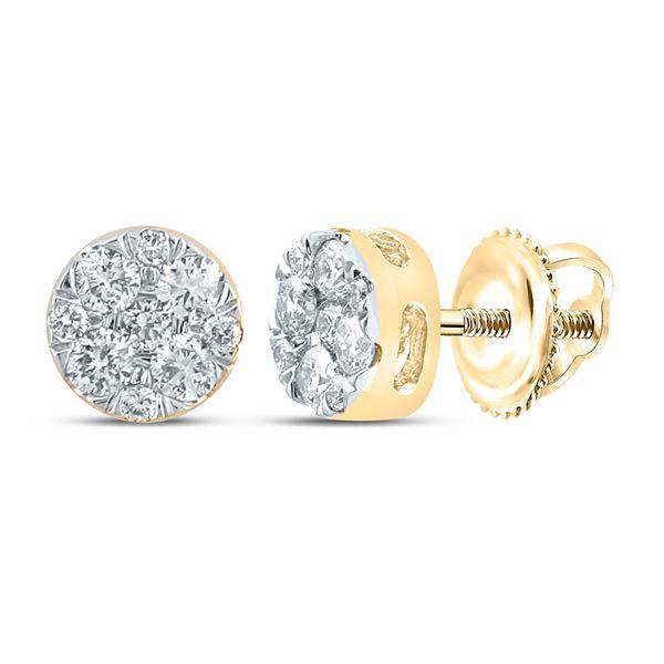 Diamond Cluster Earrings 1/4 Cttw 14kt Yellow Gold