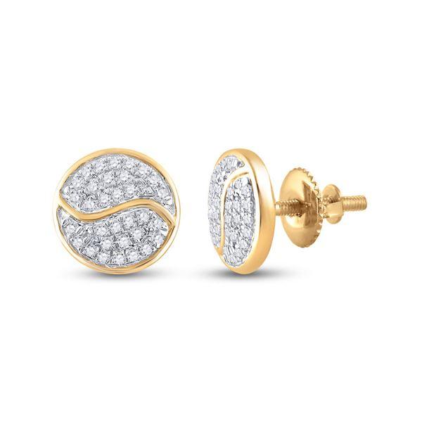 Diamond Circle Earrings 1/4 Cttw 10kt Yellow Gold