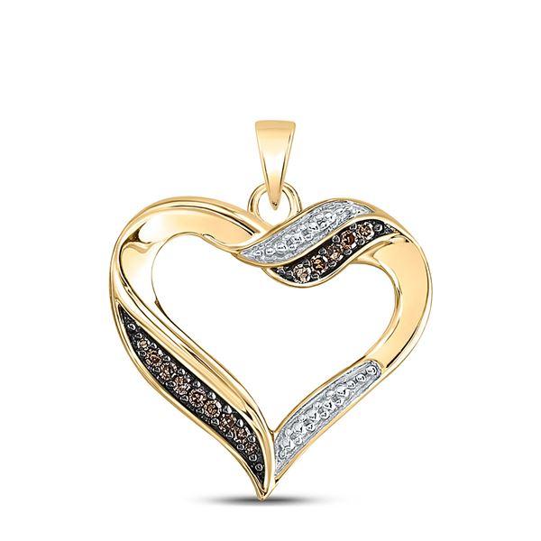 Brown Diamond Heart Pendant 1/10 Cttw 10kt Yellow Gold