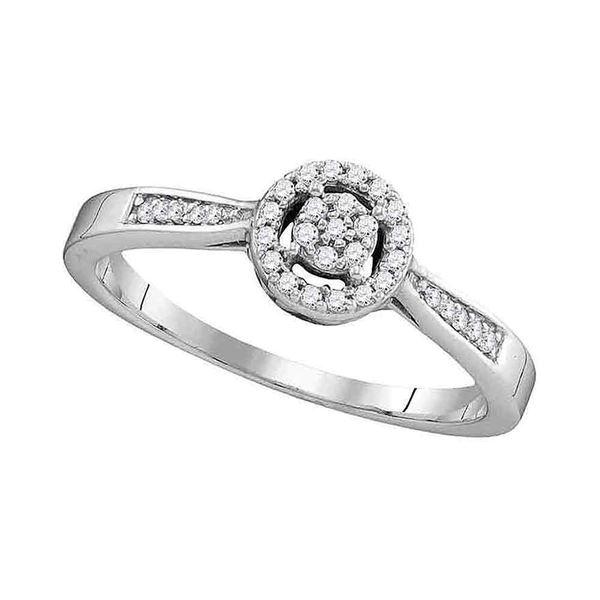 Diamond Cluster Bridal Wedding Engagement Ring 1/8 Cttw 10kt White Gold