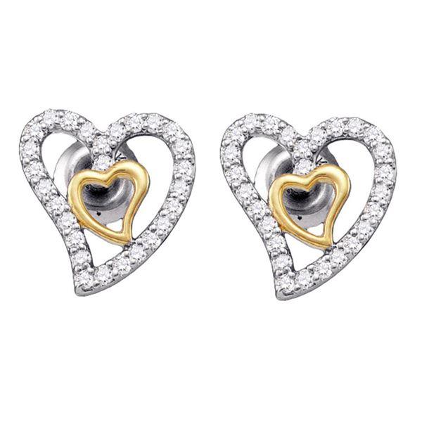 Diamond Heart Earrings 1/5 Cttw 10kt White Gold