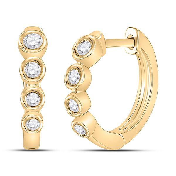Diamond Fashion Hoop Earrings 1/4 Cttw 14kt Yellow Gold