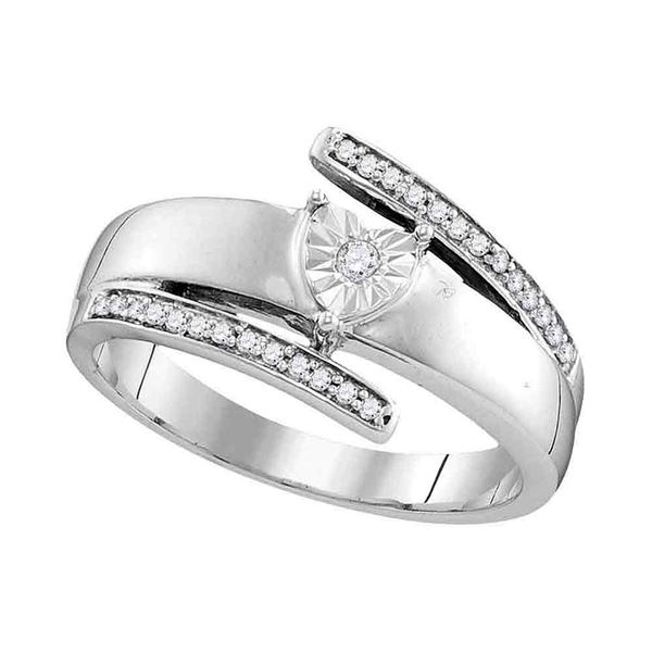 Diamond Solitaire Promise Ring 1/10 Cttw 14kt White Gold