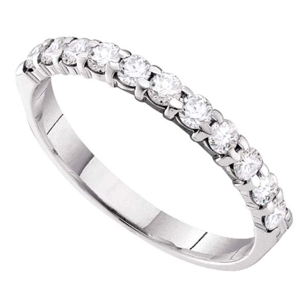 Pave-set Diamond 3.5mm Wedding Band 1/2 Cttw 14kt White Gold