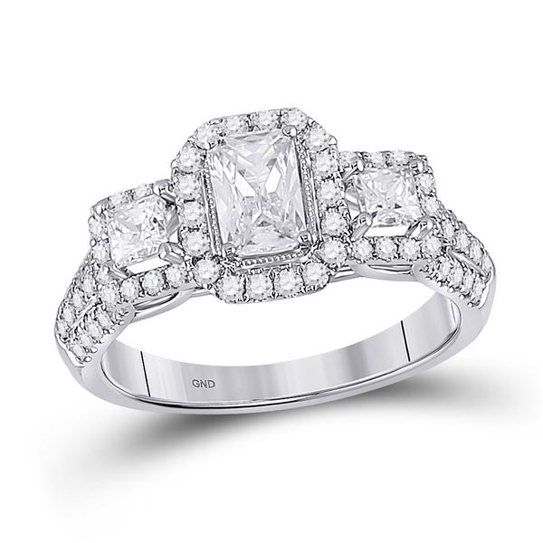 Emerald Diamond 3-stone Bridal Wedding Engagement Ring 1-1/2 Cttw 14kt White Gold