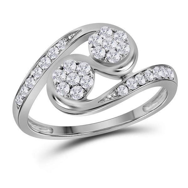Diamond Cluster 2-stone Ring 1/2 Cttw 14kt White Gold